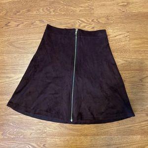 Brown Zipper Suede Skater skirt